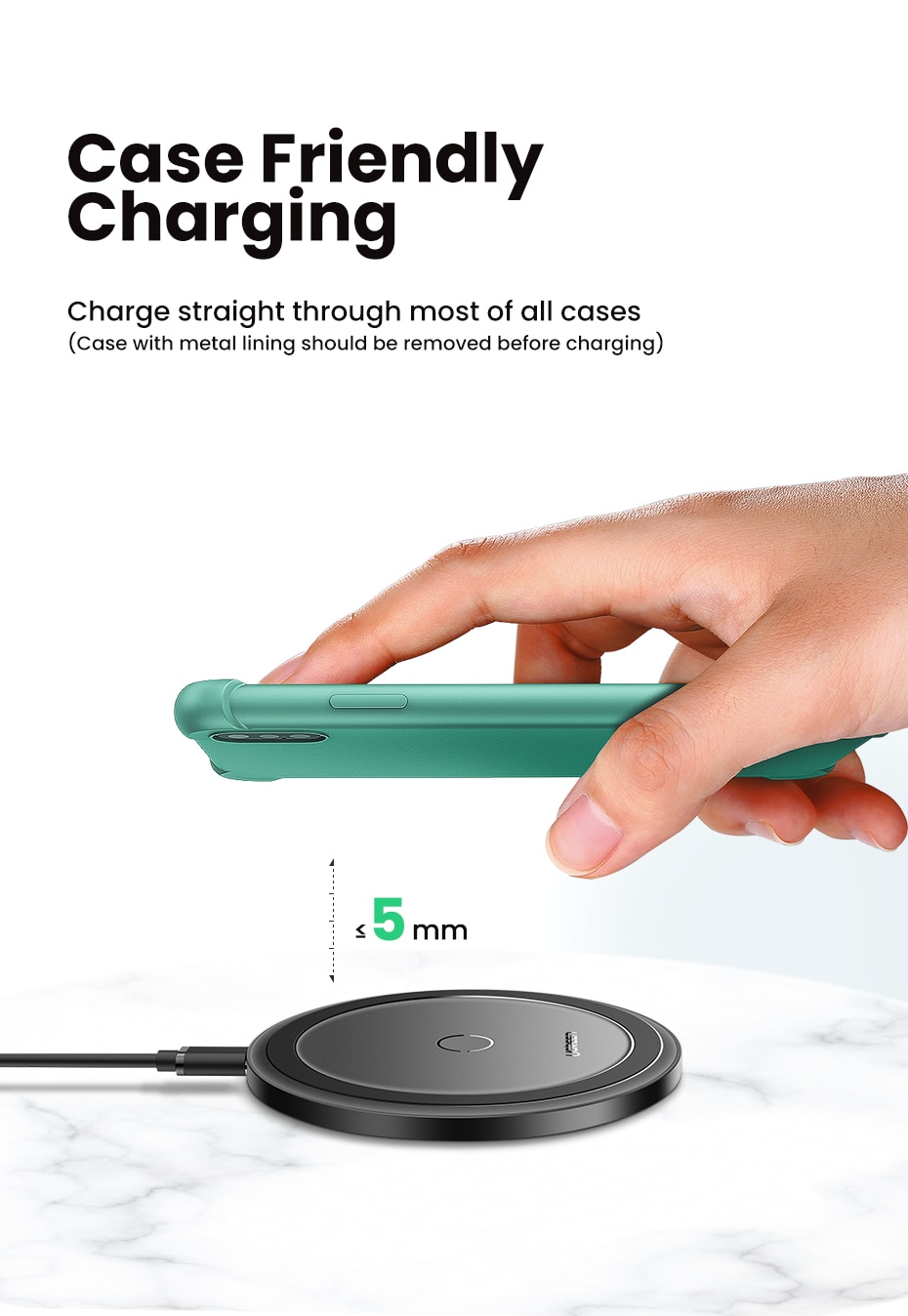 Universal Round Wireless Charger for Smartphones