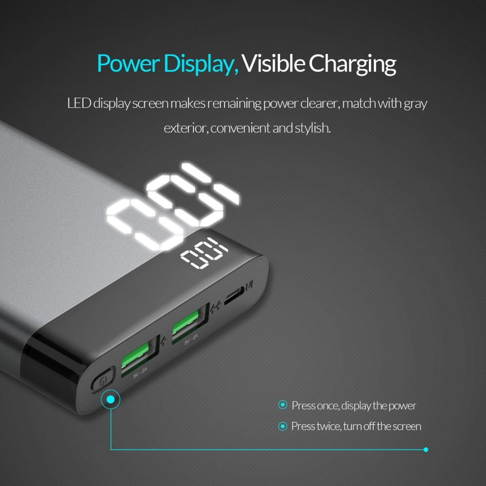 10000 mAh Dual USB Power Bank for Smartphone