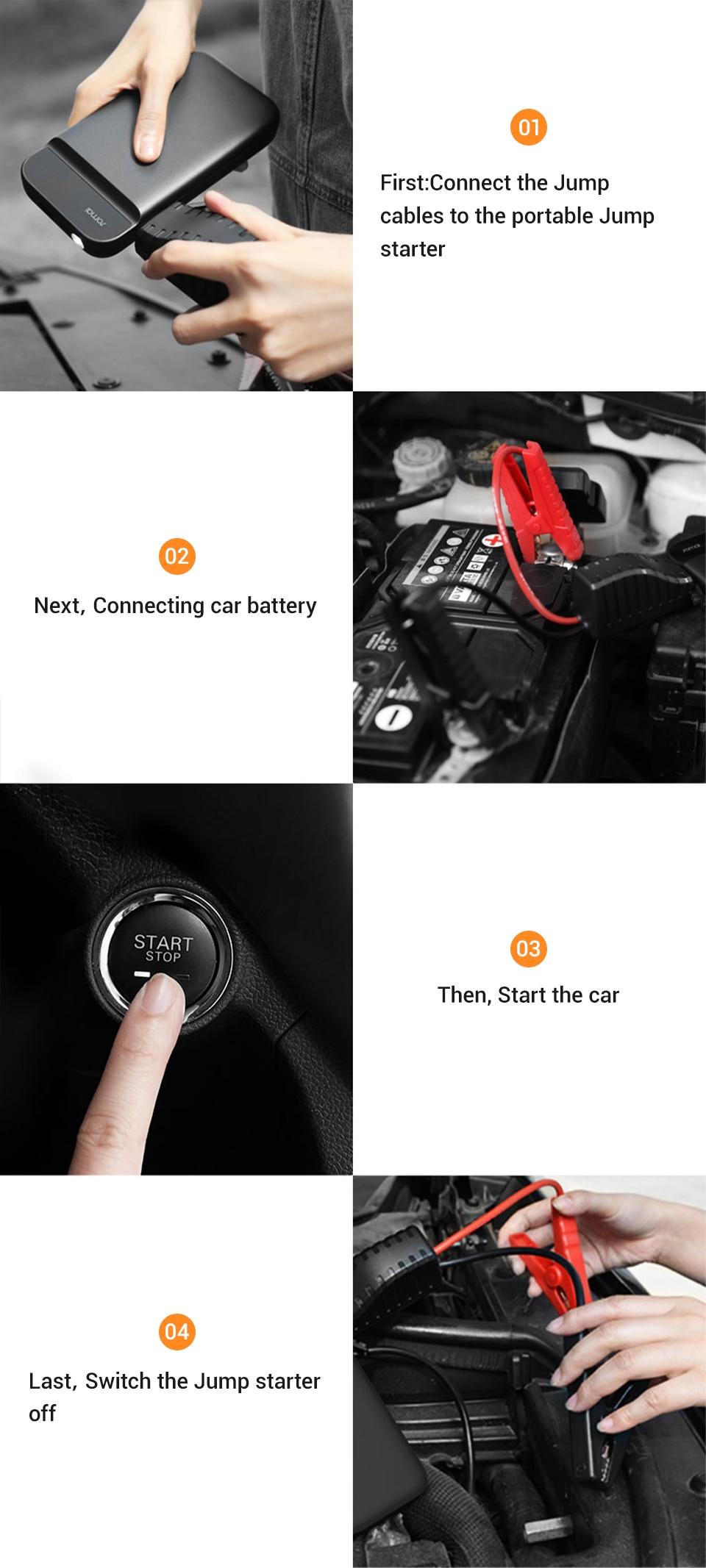 70mai-arrancador de batería de coche, arrancador de batería de coche 70 Mai, Banco de energía de batería con bolsa, propulsor de emergencia